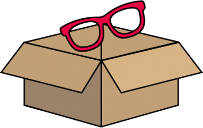 Image of a pair of glasses being placed into a return postage box - step 2 of getting replacement lenses