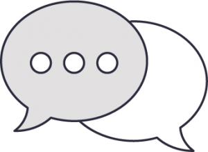 Image of two speech bubbles indicating a discussion on your replacement lenses